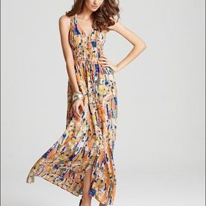 Tracy Reese silk dress maxi high-low M blue